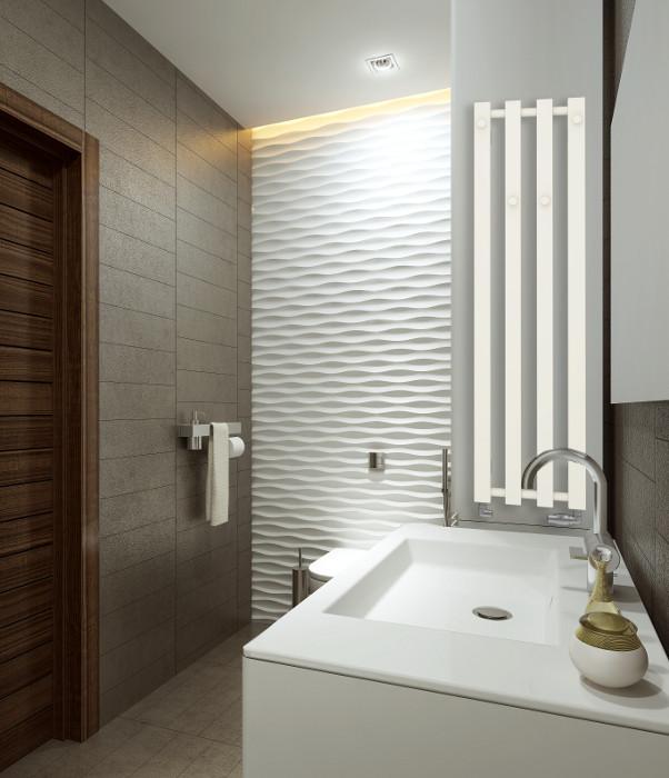 Pionowy biały grzejnik łazienkowy